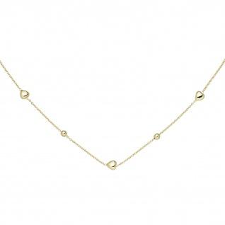 Collier Herz Kugel 925 Sterling Silber gold vergoldet 45 cm Silberkette Federrin