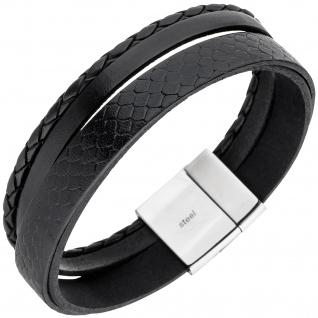 Herren Armband 4-reihig Leder schwarz geflochten Edelstahl 21 cm Herrenarmband
