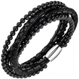 Armband Leder schwarz mit Onyx Kugeln und Edelstahl 19 cm Lederarmband