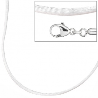 Collier Halskette Seide weiss 42 cm, Verschluss 925 Silber Kette