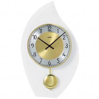 AMS 7150 Wanduhr Quarz mit Pendel modern geschwungen Pendeluhr mit Glas