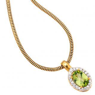 Anhänger oval 585 Gold Gelbgold bicolor 1 Peridot grün 20 Diamanten - Vorschau 3