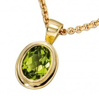 Anhänger oval 585 Gold Gelbgold 1 Peridot grün Goldanhänger - Vorschau 2