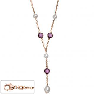 Collier 925 Silber rotgold vergoldet 4 Süßwasser Perlen 3 Quarze lila 45 cm