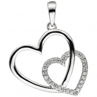 Anhänger Herz Herzen 925 Sterling Silber 28 Zirkonia Silberanhänger Silberherz
