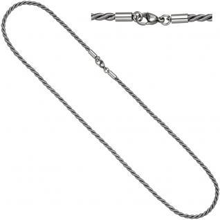 Halskette Kette Nylonkordel grau 50 cm mit Karabiner aus Edelstahl - Vorschau 1