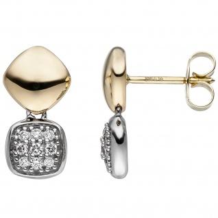Ohrstecker 585 Gold Gelbgold Weißgold bicolor 18 Diamanten Brillanten Ohrringe