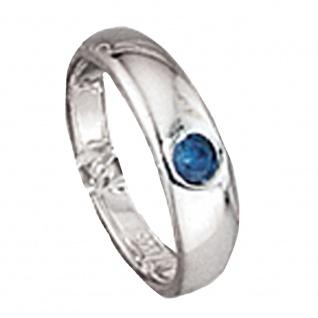 Kinder Taufring 925 Sterling Silber 1 blauer Safir Taufanhänger