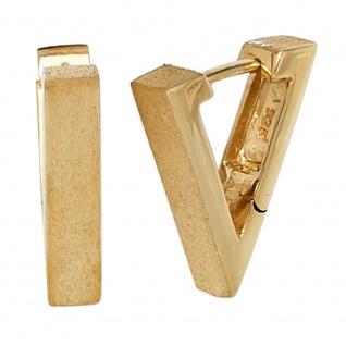 Creolen eckig dreieckig spitz 925 Silber gold vergoldet eismatt Ohrringe