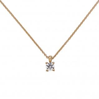 Collier Kette mit Anhänger 585 Gold Rotgold 1 Diamant Brillant 0, 15 ct. 45 cm - Vorschau 3