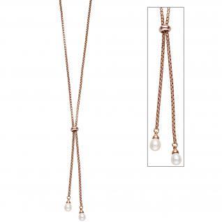 Collier Halskette 925 Silber rotgold vergoldet mit 2 Süßwasser Perlen Kette