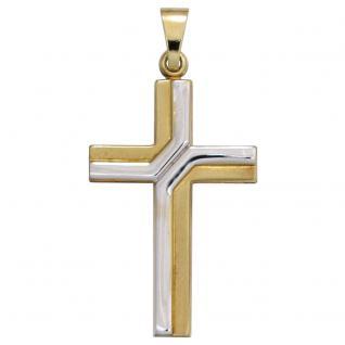 Anhänger Kreuz 333 Gold Gelbgold bicolor teil matt Kreuzanhänger Goldkreuz
