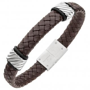 Armband Leder braun mit Edelstahl 21 cm