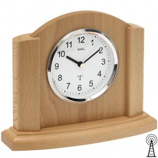 AMS 5122/18 Tischuhr Funk Funktischuhr analog modern Holz Buche
