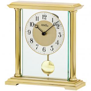 AMS 1143 Tischuhr Quarz mit Pendel golden Metall messing farben mit Glas
