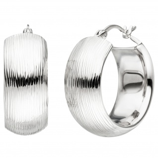 Creolen breit 925 Sterling Silber mit Struktur Ohrringe Silbercreolen