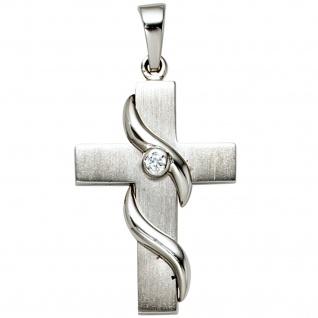 Anhänger Kreuz 925 Sterling Silber mattiert 1 Zirkonia Kreuzanhänger Silberkreuz