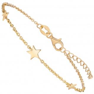 Armband Sterne 925 Sterling Silber gold vergoldet 19 cm