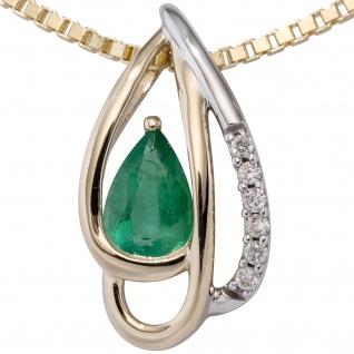 Anhänger 585 Gelbgold bicolor 6 Diamanten Brillanten 1 Smaragd grün Goldanhänger - Vorschau 2