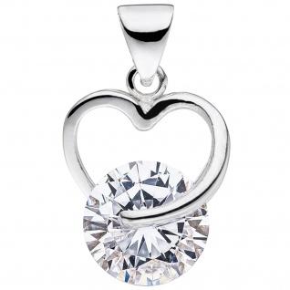 Anhänger Herz 925 Sterling Silber 1 Zirkonia Herzanhänger Silberanhänger