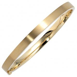 Armreif Armband oval 333 Gold Gelbgold mattiert Goldarmreif Steckverschluss