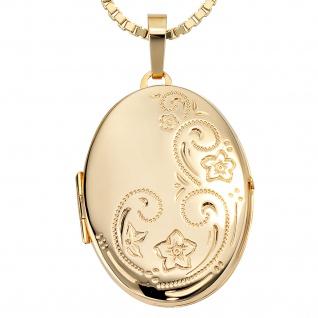 Medaillon oval Blumen 333 Gold Gelbgold Anhänger zum Öffnen - Vorschau 4