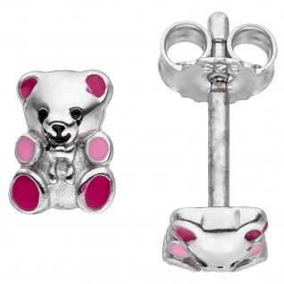 Kinder Ohrstecker Teddy Teddybär 925 Sterling Silber rosa pink Kinderohrringe