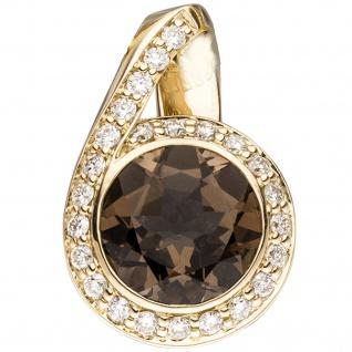Anhänger 585 Gold Gelbgold 24 Diamanten Brillanten 0, 30ct. 1 Rauchquarz braun
