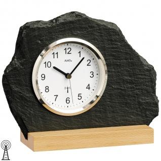 AMS 5114 Tischuhr Funk Holz Buche mit Glas Schiefer Naturschiefer Schieferuhr