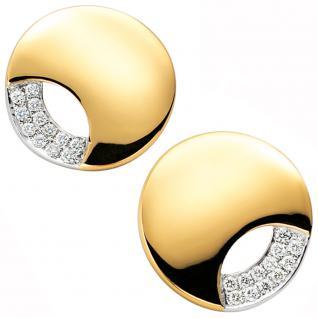Ohrstecker rund 585 Gold Gelbgold bicolor 24 Diamanten Brillanten Ohrring