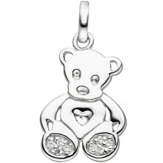 Kinder Anhänger Teddy Teddybär 925 Sterling Silber 8 Zirkonia Kinderanhänger - Vorschau
