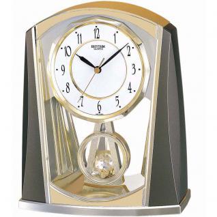 Rhythm 7772/9 Tischuhr Quarz analog mit Slow-Motion Pendel golden grau - Vorschau