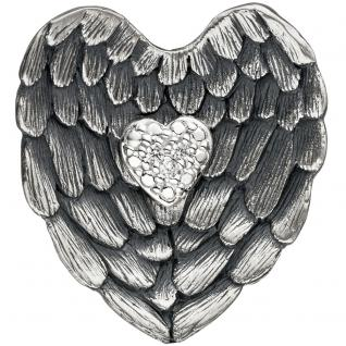 Anhänger Herz 925 Sterling Silber matt schwarz mit Zirkonia Herzanhänger