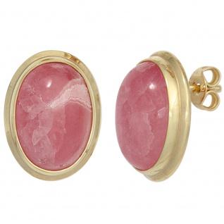 Ohrstecker oval 585 Gold Gelbgold 2 Rhodochrosite rosa Ohrringe