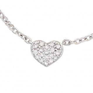 Collier Kette mit Anhänger Herz 585 Gold Weißgold 26 Diamanten 45 cm Halskette