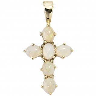 Anhänger Kreuz 585 Gold Gelbgold 6 Opale Kreuzanhänger Goldkreuz