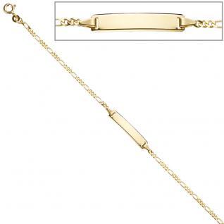 Schildband 333 Gold Gelbgold 18, 5 cm Gravur ID Armband Federring
