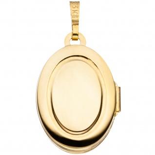 Medaillon oval 333 Gold Gelbgold mattiert Anhänger zum Öffnen - Vorschau 2