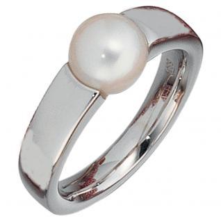 Damen Ring 585 Gold Weißgold 1 Süßwasser Perle Goldring Perlenring