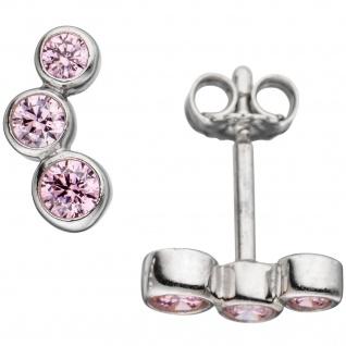 Ohrstecker 925 Sterling Silber rhodiniert 6 Zirkonia rosa Ohrringe - Vorschau