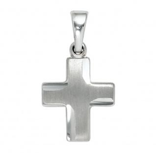 Anhänger Kreuz 925 Sterling Silber massiv teil matt Kreuzanhänger Silberkreuz - Vorschau