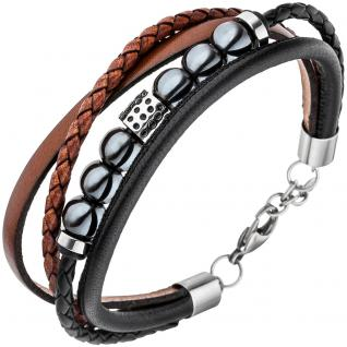 Herren Armband 4-reihig Leder schwarz braun Hämatit Kugeln und Edelstahl 23 cm