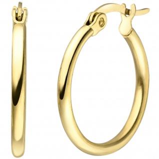 Creolen Edelstahl gelbgoldfarben beschichtet Ohrringe 20 mm