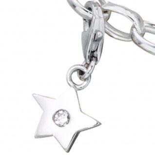 Einhänger Charm Stern 925 Sterling Silber rhodiniert 1 Zirkonia - Vorschau 2