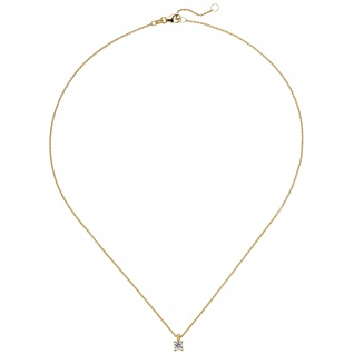 Collier Kette mit Anhänger 585 Gold Gelbgold 1 Diamant Brillant 0, 15 ct. 45 cm - Vorschau 2