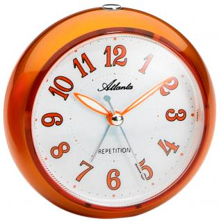 Atlanta 1725/12 Wecker Quarz analog orange rund leise ohne Ticken Licht Snooze