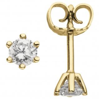 Ohrstecker 585 Gold Gelbgold 2 Diamanten Brillanten 0, 50 ct. Ohrringe