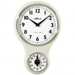 Atlanta 6124/0 Küchenuhr Wanduhr Küche Quarz analog beige Kurzzeitmesser Timer - Vorschau