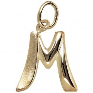 Anhänger Buchstabe M 375 Gold Gelbgold Buchstabenanhänger
