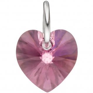 Anhänger Herz 925 Sterling Silber Kristallstein rosa pink Herzanhänger